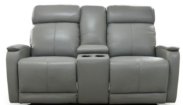 Picture of Leather Console Loveseat with Double Power