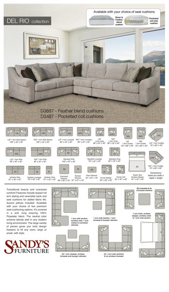 Picture of Del Rio Right Arm Sofa Sectional Piece