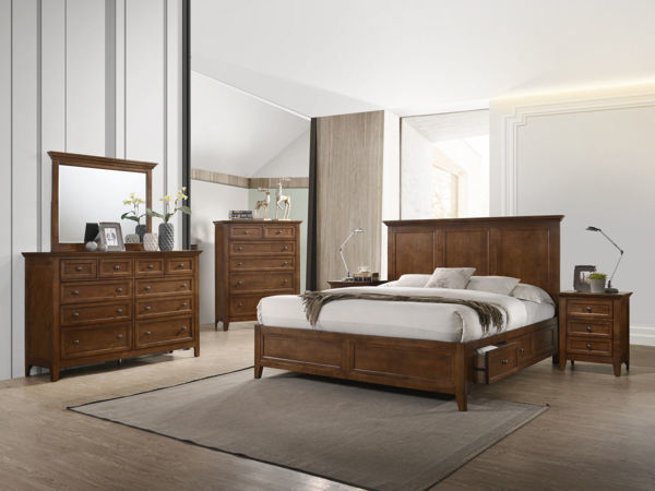 Picture of Queen San Mateo Tuscan Brown Platform Bed with 4 Drawer Storage