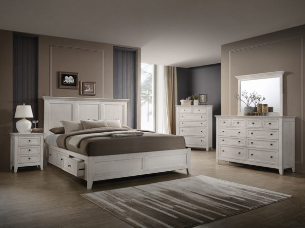 Picture of King San Mateo Rustic White Platform Bed with 4 Drawer Storage