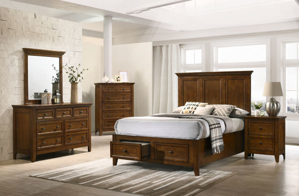 Picture of San Mateo Tuscan Brown Double Storage Bed