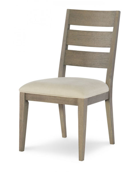 Picture of High Line By Rachael Ray Greige Finish with Light Beige Fabric Ladder Back Side Chair
