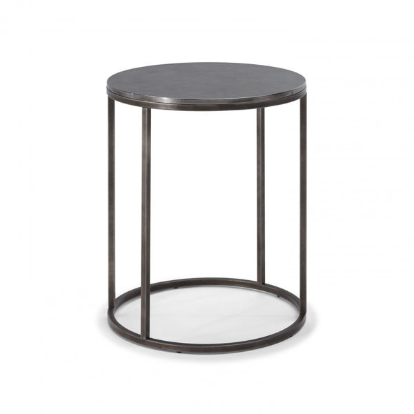 Picture of Natuzzi Italia Cabaret round accent table with pewter frame and nickel silver top.