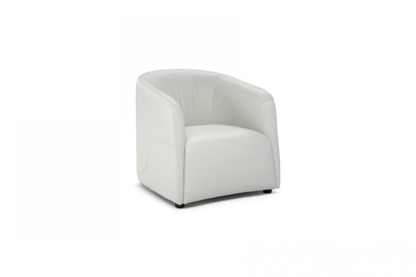 Picture of Natuzzi Italia Logos, fabric accent chair with swivel base.