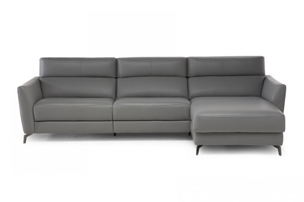 Picture of Natuzzi Italia Stan grey leather sectional with one electric adjustable headrest and recliner.