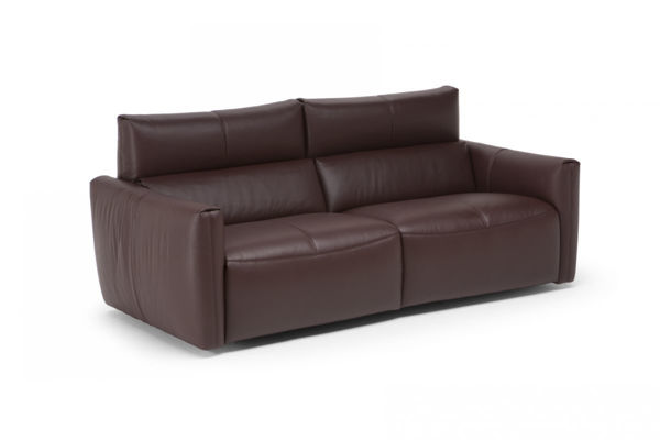 Picture of Natuzzi Italia Galaxy burgandy leather sofa.