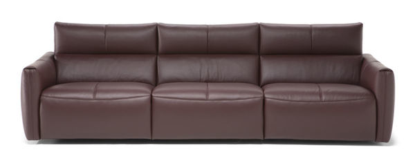 Picture of Natuzzi Italia Galaxy burgandy leather sofa with two electric headrest adjust functions and recliners.