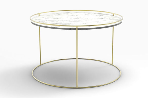 Picture of Attolo side Table with White Ceramic Top & Brass Base