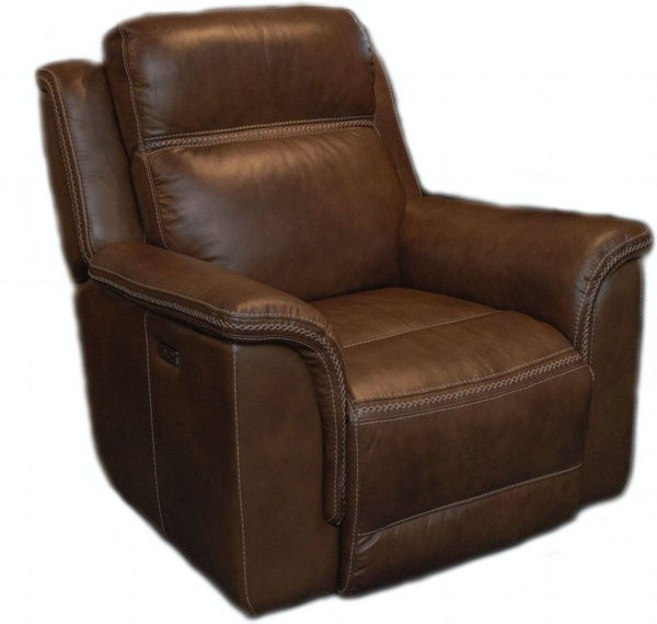 Picture of Leather Morion Sectional with Chaise, Brown
